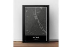 Skandynawski czarny plakat z mapą Paryża na ścianę