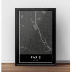Czarny plakat z mapą Paryża