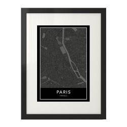 Czarny plakat z mapą przedmieścia Paryża do powieszenia na ścianie