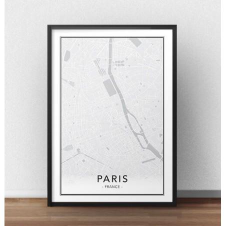 Skandynawski plakat z mapą Paryża