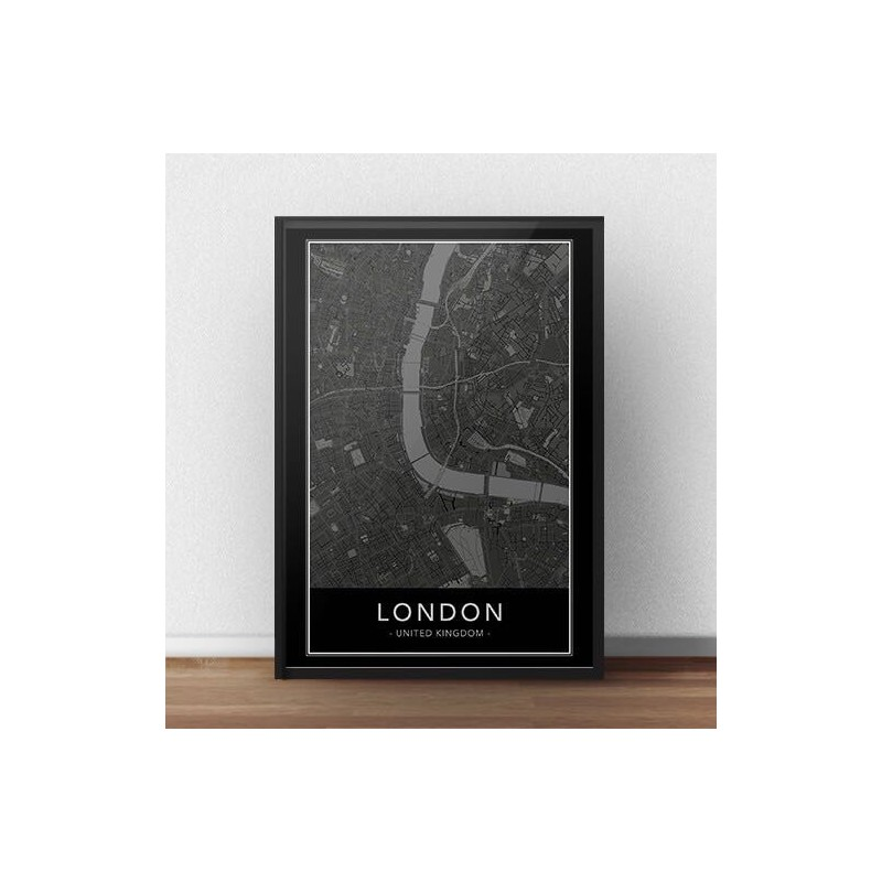 Black poster with map of London