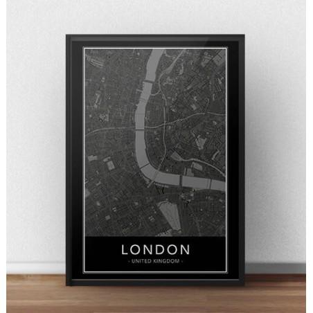Czarny plakat z mapą Londynu