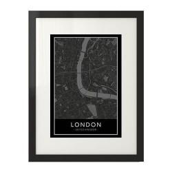 Skandynawski czarny plakat z mapą śródmieścia Londynu na ścianę