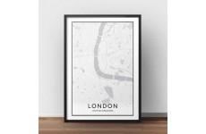Biały skandynawski plakat z mapą śródmieścia Londynu