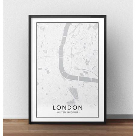 Skandynawski plakat z mapą Londynu
