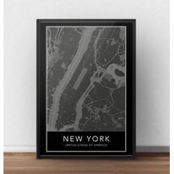 Czarny plakat z mapą Nowego Jorku przedstawiającą Manhattan
