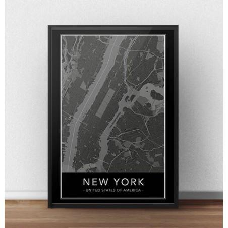 Czarny plakat z mapą Nowego Jorku