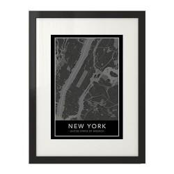 Nowoczesny plakat z mapą Nowego Jorku i Manhattanem