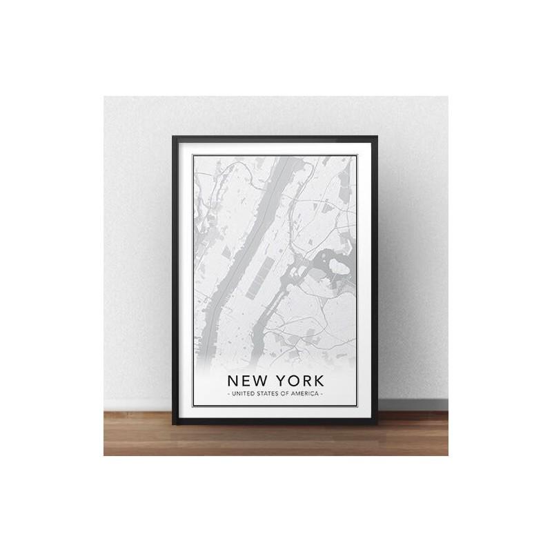 Skandynawski plakat z mapą Manhattanu Nowego Jorku