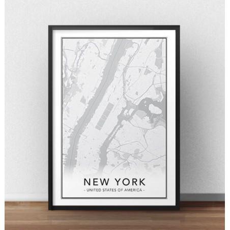 Skandynawski plakat z mapą Nowego Jorku