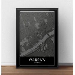 Czarny plakat z mapą śródmieścia Warszawy na ścianę