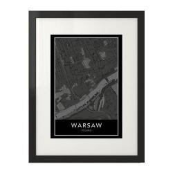 Elegancki czarny plakat z mapą śródmieścia Warszawy do powieszenia na ścianie