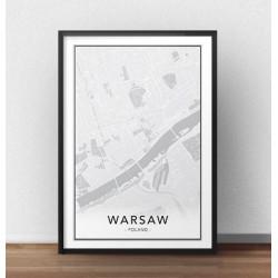 Skandynawski plakat z mapą Warszawy do powieszenia na ścianie lub postawienia na półce