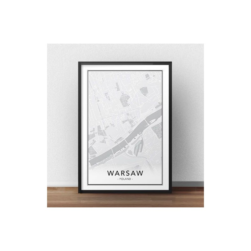Scandinavian poster with map of Warsaw