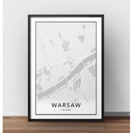 Skandynawski plakat z mapą Warszawy
